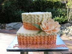 You have to see Peach Peony Ombre Birthday Cake on Craftsy!