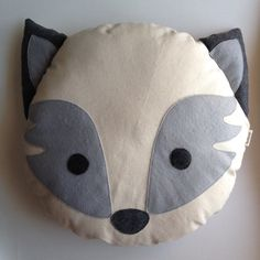 Grey Fox Animal Plush Pillow