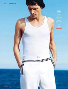 """Roch Barbot in """"Seemann-Look"""" (""""Sailor Look"""") shoot in Cadaquès, Costa Brava, Spain, by Matteo Montanari for the German GQ May 2013 Issue. He's thin. French Male Models, Jeremy Dufour, Matteo Montanari, Baptiste Radufe, League Of Extraordinary Gentlemen, Solid And Striped, Gq Style, Junior, Nautical Fashion"""