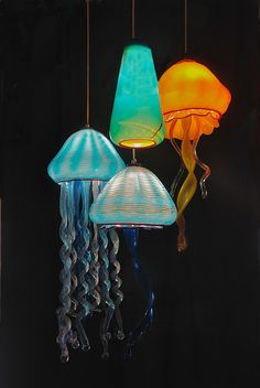 JellyFish with a Aquarium Teardrop Pendant, artist Rick Strini 2015 - All For Decoration Custom Lighting, Cool Lighting, Pendant Lighting, Pendant Lamps, Light Pendant, Jellyfish Light, Pink Jellyfish, Instalation Art, Yoga Studio Design