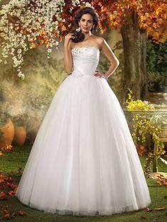 Vestido de Boda - Marfil Corte en A/Corte Princesa Hasta el Suelo - Sin Tirantes Tul Tallas Grandes - USD $119.99