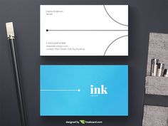 White And Blue Minimal Business Card - Freebcard