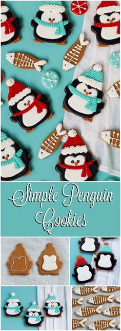 Enjoy these simple penguin cookies all winter long. These adorable delicious sugar cookies decorated with royal icing are sure to please your guests. Noel Christmas, Christmas Treats, Christmas Baking, Cupcakes, Cupcake Cookies, Christmas Sugar Cookies, Holiday Cookies, Bolacha Cookies, Cookie Tutorials
