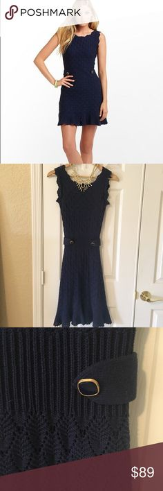 Lilly Pulitzer Navy Sweater Dress Beautiful Lilly Pulitzer Navy Sweater Dress with gold button detailing. Such a classic look. Great from work to weekend, hugs your curves for a sexy fitted look. Fully lined. Could fit xxs to xs. Excellent Condition. Dresses