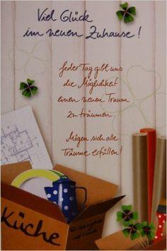 Glückwunschkarte, Karte, inkl. Umschlag, Umzug, neues Heim, neues Zuhause, Haus, Einzug, Wohnung: Amazon.de: o. A.: Bücher