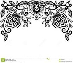 beautiful black and white lace flower in the corner vector art rh pinterest com lace vector free illustrator lace vector free illustrator