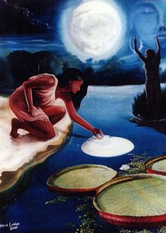The moon and a flower – Vitória Regia Spiritual Photos, Surrealism Painting, Sky Art, Moon Art, Native American Art, Conte, Tribal Art, Stars And Moon, Mythical Creatures