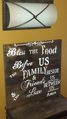 DINING/KITCHEN SIGN – Kimber Creations Dremel Projects, Bless The Food, Food Signs, Inspirational Signs, Rustic Wood Signs, Kitchen Signs, Family Signs, Before Us, Hostess Gifts