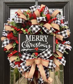 Excited to share the latest addition to my #etsy shop: Christmas Wreath, Buffalo Check Wreath, Buffalo Plaid Wreath, Farmhouse Christmas, Holiday Wreath