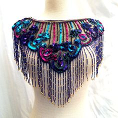 Vintage 1980s Amazing Sequin & Beaded Tulle Capelet with Bead Fringe by ItemVintage on Etsy