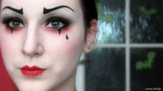 Pantomime make-up - Creative ideas in pictures for great make-up for Halloween and carnival Creepy Clown Makeup, Mime Makeup, Costume Makeup, Halloween Face Makeup, Jester Makeup, Mime Costume, Clown Makeup Tutorial, Queen Of Hearts Makeup, Theatrical Makeup