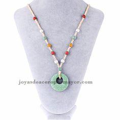 collar grande de dije circulos verde especial en volcanico-ACNEG50086