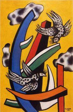 Fernand Leger, Birdsona yellow background,