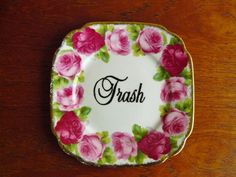 Trash hand painted vintage plate with hanger by trixiedelicious