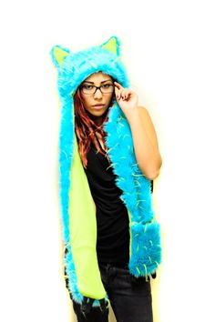 Baby blue lime green monster cat faux fur hood by MangosMadness, $80.00