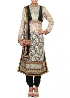 Straight fit beige suit embellished lucknowi thread work only on Kalki