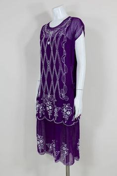 1920s Beaded Purple Cotton Dress with Tunic