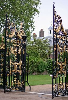 Kensington Palace Gates, London toured the Palace twice, last time 1997, was able to view Princess Diana's wedding gown, the gorgeous rooms. there was a heat wave that day, 91 degrees for an Arizonan, not bad, but there was on AC. everyone but us dropped out of the tour.
