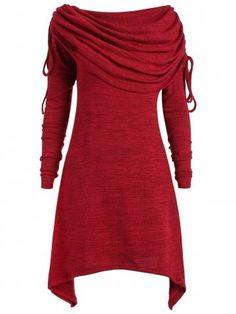 3d77e21abb Wipalo Women Long Foldover Collar Plus Size Ruched Top Red Sweatshirt  Fashion Women Tunic Top Casual Blusas Mujer Big Size