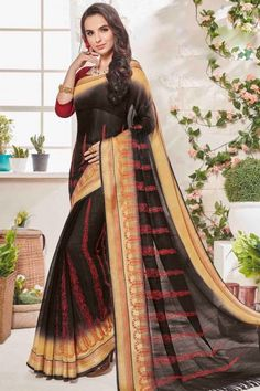 New stylish & designer black and cream art silk saree with art silk u neck blouse now in shop. Andaaz Fashion brings latest designer ethnic wear collection in US New Designer Dresses, Ethnic Wear Designer, Designer Sarees Online, Traditional Sarees, Traditional Fashion, Saree With Hijab, Diwali Dresses, Bollywood Sarees Online, Buy Dresses Online