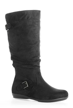 f2023009fda Allie Faux Suede Tall Boot. Buckle Boots