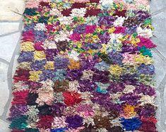 """Moroccan rug boucherouite 307 ( boucharouette) 75 x 34"""""""