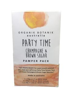 Organic Pamper Pack - Party Time - Champagne & Brown Sugar  #madeinaustralia #reed #soy #candles #diffuser #Luxury #sale #premiumquality #Bestprices #thefragranceroom