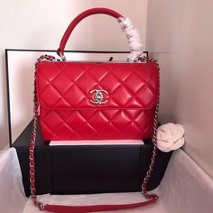 d7f5a136d5e2 Bella Vita Moda online fashion boutique · Chanel Small Trendy CC Top Handle  Bag Quilted Lambskin Red #handbags #fashion #bags