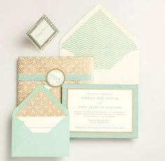 mint and gold wedding invitations