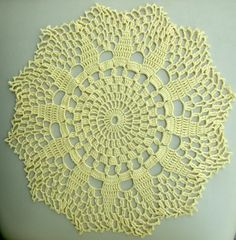 Vintage Cotton Crocheted Doily, Hand made Yellow Round Doily, Lacework, lace, Cottage Chic, Shabby Chic, Made in Poland, Polish folk art 80 Available at: etsy.com/shop/VintagePolkaShop