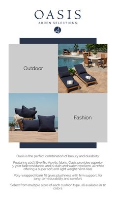 Look at these elegant navy blue outdoor cushions and pillows! They would look great on your patio. Outdoor Cushions And Pillows, Patio Chair Cushions, Foam Cushions, Patio Chairs, New Patio Ideas, Outdoor Fashion, Outdoor Seating, Oasis, The Selection