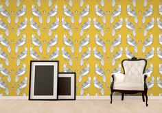 'Yellow Bird Wallpaper' by Jessica Townsend available at wallpapered.com