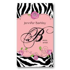 Beauty Business Card Zebra Rose Salon Baby Pink