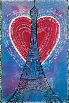 Paris in Love Eiffel Tower France Art Illustration Painting