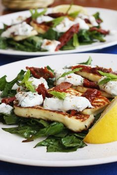Minty halloumi & sundried tomato salad with honey-balsamic spinach - Scrummy Lane