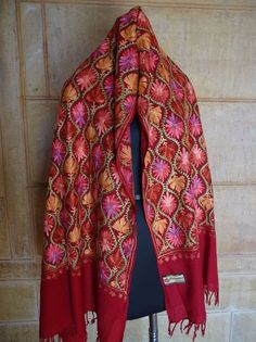 Colorful, Crewel Embroidery, Wool Shawl. Kashmir, Embroidered, Ari 362 #ShawlWrap