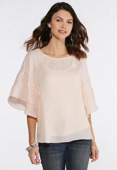 2b16cbef28a6a Blush Lace Trim Top Shirts   Blouses Cato Fashions Cato Fashion Plus Size