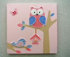 Fabric sewn Owl on Canvas. Cute idea.