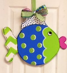 Blue Fish Door Hanger...Free Personalization can be added. Made by Sticks and More in Snow Hill, NC https://www.facebook.com/sticksandmore