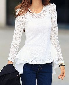 2014 Korean Versatile Style Blouse Pure Color Long Sleeve Lace Splicing  Casual White Chiffon Blouse S-XL