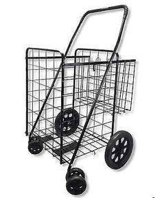 Plegar Carrito De Supermercado Con Ruedas Giratorias Extra cesta de compras Plegable handcart