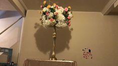 DIY-Dollar tree tall centerpiece - Sites new Flower Centerpieces, Wedding Centerpieces, Wedding Table, Tall Centerpiece, Dollar Tree Centerpieces, Church Wedding, Budget Wedding, Rustic Wedding, Quinceanera Decorations
