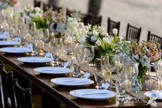 lush spring beach wedding table decor