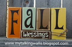 Cute Fall Crafts now available as a DIY Kit, Finished for you or Vinyl Letters only.     Fall Blessings Blocks   $12- Finished for you   $8...