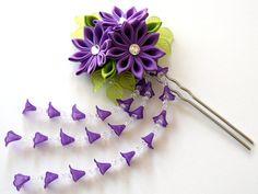 Purple Kanzashi fabric flower hair fork. Purple kanzashi by JuLVa