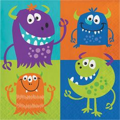 Wipe up monster-sized spills with these adorable monster party luncheon napkins! Little Monster Party, Monster Birthday Parties, 24th Birthday, Rainbow Birthday, Monster Baby Showers, Pawer Rangers, Party Napkins, Party Packs, Bunt