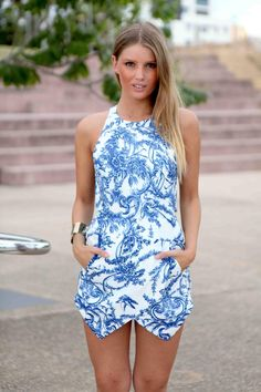 Blue Print Open Back High Neck Playsuit #romper #asymmetrical #skort