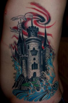 Something about this rib piece really stands out to me. It's probably the stipple texture making the castle look so cool, or the really nice finger waves.  fuckyeahtattoos:    Tattoo done by Sean Baltzell at tower classic tattoo in stl, mo