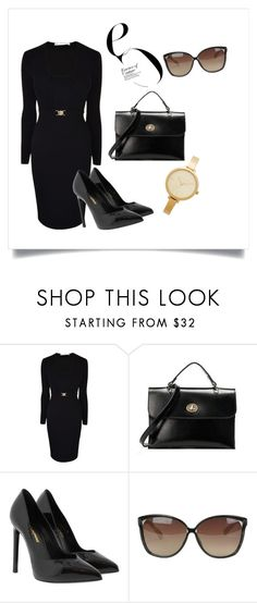 """Power woman look."" by tuliprivera ❤ liked on Polyvore featuring Versace, Yves Saint Laurent, Linda Farrow and Michael Kors"