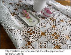 crochet fabric , CROCHET - GANCHILLO - PATRONES - GRAFICOS: UN HERMOSO MANTEL TEJIDO A CROCHET CON SU PATRON